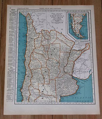 1937 Map Of Argentina Chile / Paraguay Uruguay On Reverse Side