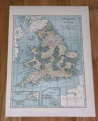 1939 Original Vintage Map Of England And Wales