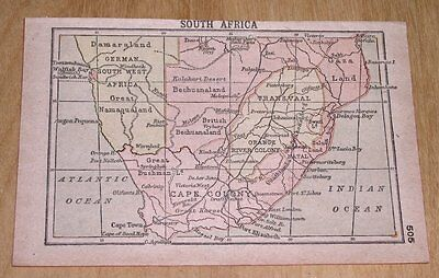 """1902 TINY 5"""" x 3 1/4""""  ANTIQUE MAP OF SOUTH AFRICA TRANSVAAL OCEANIA ON REV SIDE"""