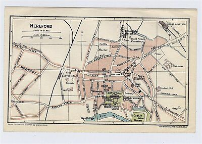 1924 Original Vintage City Map Of Hereford / Herefordshire / England