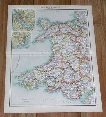 1903 Original Antique Map Of Wales Pembroke Carnarvon Cardigan Radnor Carmarthen