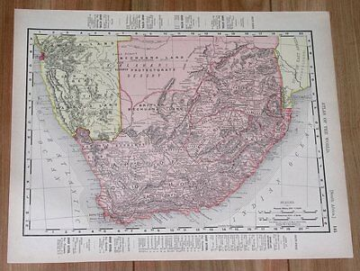 1907 Original Antique Map Of South Africa / Cape Colony Transvaal Orange