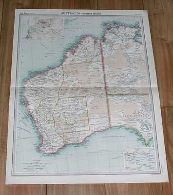 1922 Original Vintage Map Of Western Australia Darwin / City Of Perth Inset Map