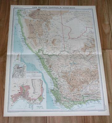 1922 Original Vintage Map Of Namibia South Africa Cape Town Kaapstad Cape Prov.