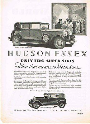 HUDSON ESSEX Only 2 Super Sixes 1928 Ad