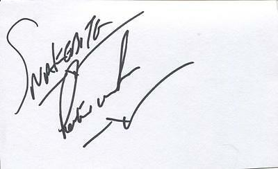 A 5 x 3 inch white card. Personally signed by Darts player Peter Wright.