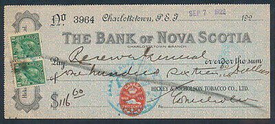 Canada - Prince Edward Is: 1922 Bank of Nova Scotia. Cheque with WAR TAX Stamp