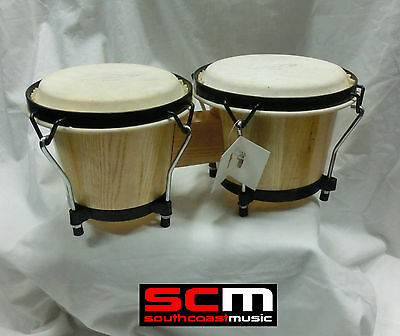 "Latin Style Bongos 6-7"" Bongo Drums Real Hide Skins Natural Gloss Finish"