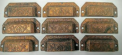 9 Antique Victorian Eastlake Cast Iron Drawer Bin Pulls Cupboard 1873 Hardware