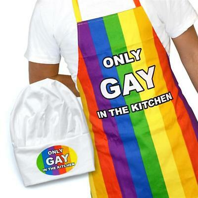 Only Gay In The Kitchen Cooking Apron and Chef Hat Novelty Set Pride Rainbow BBQ