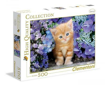 Clementoni 30415 Ginger Cat in Flowers 500 Pieces High Quality Jigsaw Puzzle