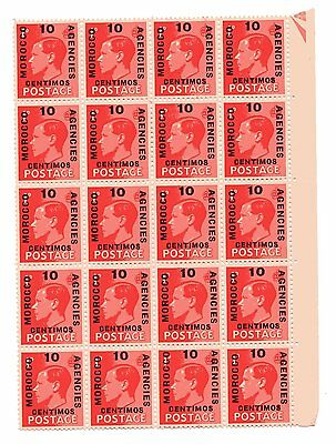 Morocco Agencies,,,1936 1d. red,, overprinted with 10 centimos,,m/m on one stamp