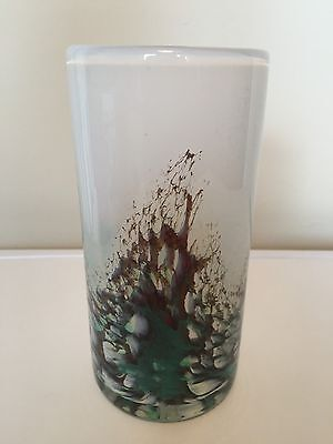 Selkirk Scottish Rare  Art Glass Large Vase 1991 Etched To Base Heavy Art Glass