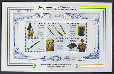 Honduras 2000 Music Sc B1g in gold complete mint never hinged