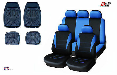 Sporty To Fit Renault Clio Megane Scenic Blue Car Seat Covers & Rubber Mats Set