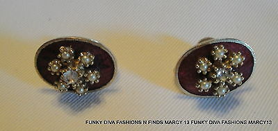 Exquisite Vintage Coro Rhinestone Studded Red Button Screw Back Earrings