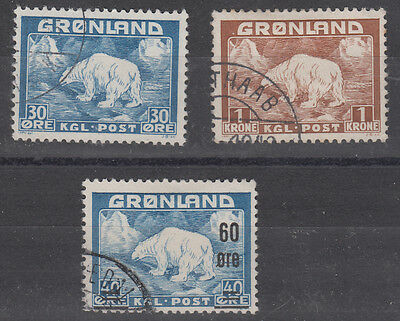 Greenland  Polar bears fine used  30 ore , 1kr  and 60 overprinted on 40 ore