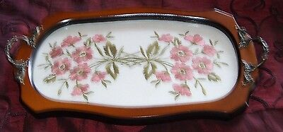 Vintage Early Century Mahogany Serving Tray Embroidered Doily Glass Brass Handle