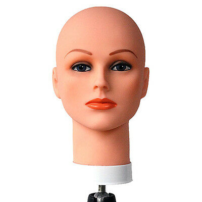 SP-400 Celebrity Cosmetology Mannequin Head Bald with Make-Up Hat Wig Holder