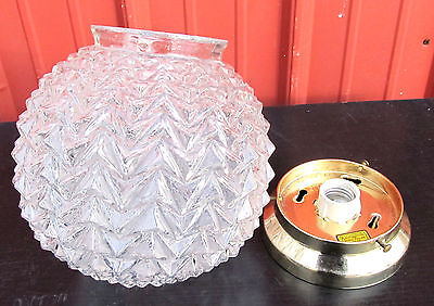 Vintage MCM BIG Chevron Spiked Geometric Glass Globe Shade Ceiling Light Fixture