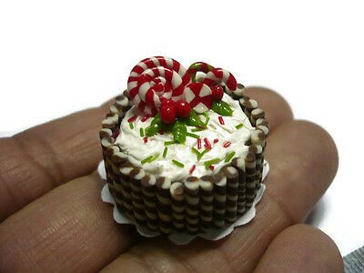 Sweet Chocolate Candy Canes Cake Dollhouse Miniature Food Bakery (2.50 cm)