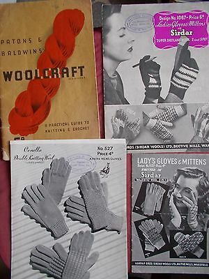 3 Vintage Knitting Patterns & Book - Gloves, Sweaters Etc