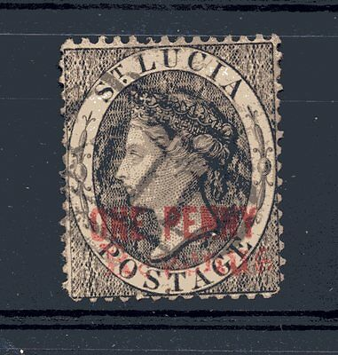 """St.Lucia,, SG 15.. o/printed """"One Penny"""" and """"REVENUE"""",,,(in red),,"""