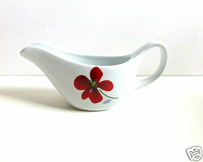 White Ceramic Sauce Boat / Gravy Boat with Red Flower Design- NEW