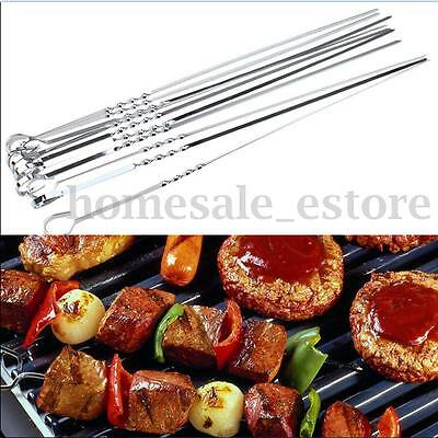 New 15 inch 10PCS Stainless Steel BBQ UTENSIL Skewers Barbeque Kabob Needle Fork