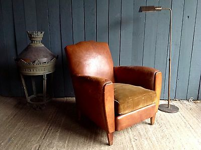 Super French Vintage Leather Club Armchair No Reserve!!