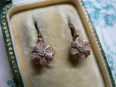 Lovely Pair  Antique French 18Ct Rolled Rose & Yellow Gold Fix  Earrings  D