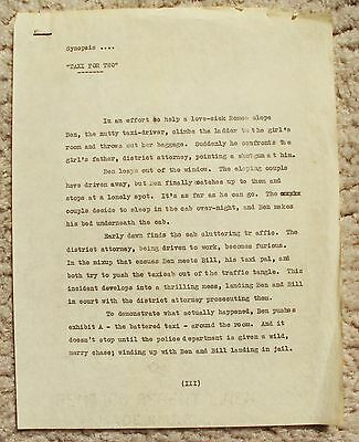 TAXI FOR TWO Original Hal Roach Studios SYNOPSIS Document BOYS Billy Gilbert '32