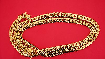 """150 Grams Miami Cuban Link Necklace Chain 14K Solid Yellow Gold 9 mm Gold 30"""""""