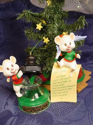 MICE Pals WRITE Letter to Santa HALLMARK CHRISTMAS ORNAMENTS Feather Pen & INK
