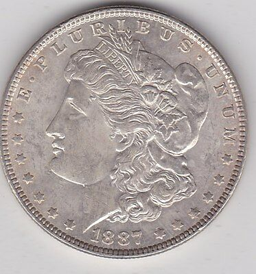 Usa 1887 Silver Morgan Dollar In Extremely Fine Or Slightly Better Condition