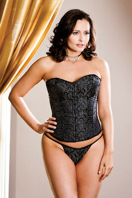 Plus Size Leaf Brocade Corset and Thong Lingerie Set