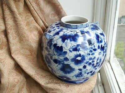 Old Vintage Chinese Porcelain Hand Decorated Blue White Floral Vase Round