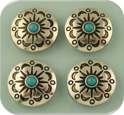 2 Hole Beads Faux Turquoise Circle Conchos ~ Aztec Flower Pattern ~Sliders QTY 4