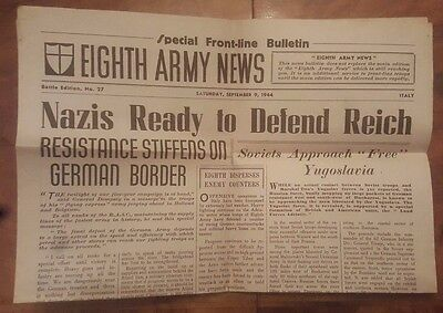 Eighth Army News Saturday September 9 1944 Battle Edition No 27 Italy