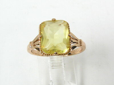 Retro 14k Rose Gold Sterling 4ct Vibrant Citrine Solitaire Open Scroll Ring 2.6g