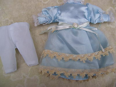 Alte Puppenkleidung Silky Fine Blue Dress Outfit vintage Doll clothes 20 cm Girl