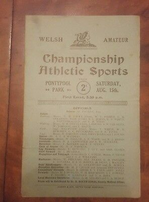 Welsh Amateur Championship Athletic Sports Pontypool Park Saturday 15 Aug 1930s