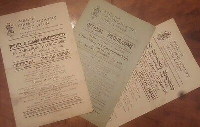 Welsh Cross Country Association 1932 Event Programmes x3