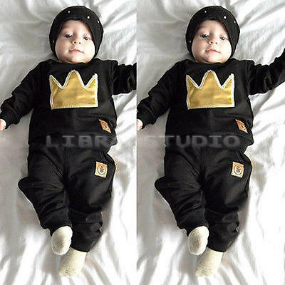 Kids Baby Clothes Novelty Crown Print Tops + Pants Outfits 2pcs Sets 0-6 Months