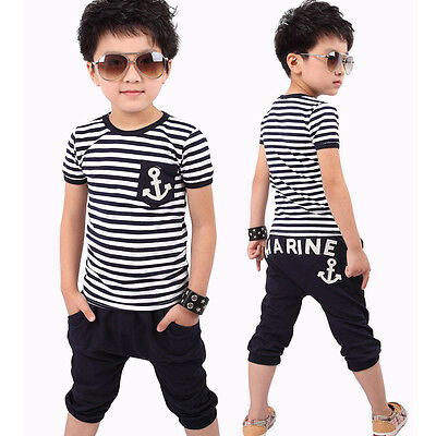 Bambini 2 PZ Outfit Del Boy T-Shirt Pantaloncini Set Blu Navy Top Righe EW