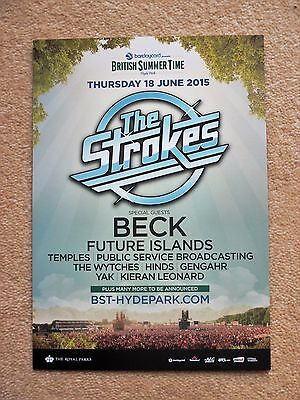 The Strokes gig flyer - Hyde Park, London 18th June 2015 - Mint condition