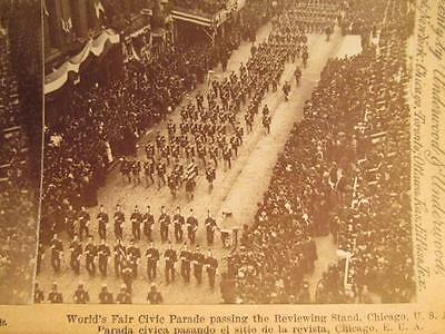 World's Fair Civic Parade Passing Reviewing Stand Chicago 1892  Stereoview Image
