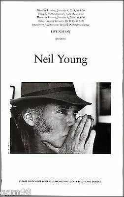 NEIL YOUNG Carnegie Hall NYC  Concert Program 2014