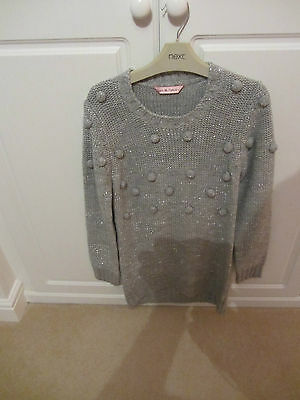 Girls Pale Grey Knitted Dress With Silvder Flecks - Age 10/11 - Matalan