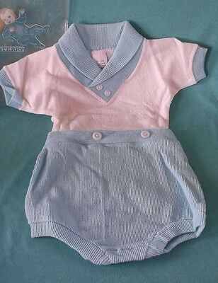 Minty (Never Worn) Vtg One Piece Baby Knit Romper Crawler Penny`s Toddletime